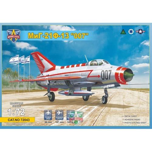 "MIKOYAN GUREVICH MIG-21 F13 FISHBED ""007"" -1/72- Modelsvit 72043"