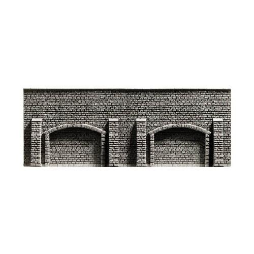 MURO CON CONTRAFUERTES Y ARCOS H0 (335 x 125 mm) - Noch 58058