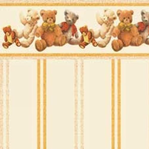 PAPEL PARED INFANTIL OCRE ESTAMPADOS OSOS (300 x 470 mm)