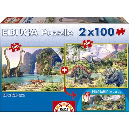 PUZZLES 2 X 100 DINO WORLD
