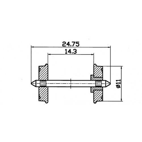 EJE VAGON AISLADOS (11 mm) 2 unidades