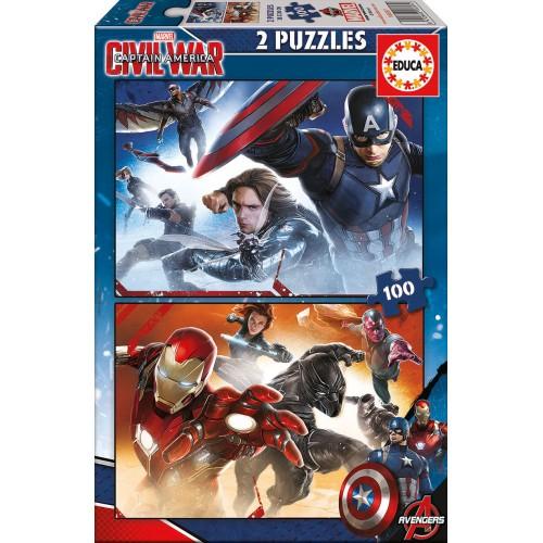 PUZZLE 2 x 100 pzas. CAPITAN AMERICA: CIVIL WAR