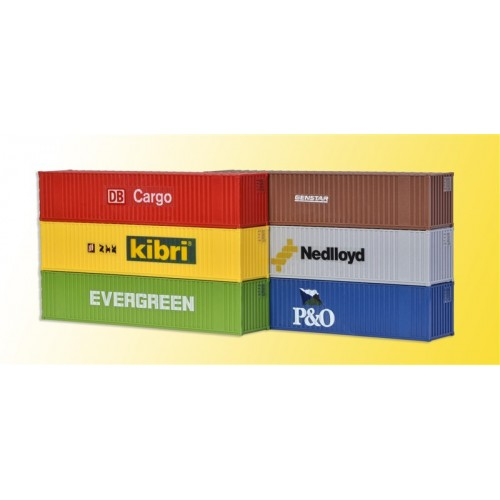 CONTENEDORES 40 PIES H0 (140 x 29 x 28 mm) 6 unidades - Kibri 10922