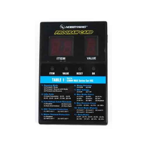 TARJETA PROGRAMADORA PARA VARIADORES ELECTRONICOS - HOBBYWING 30501003