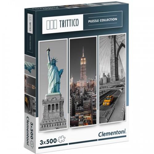 PUZZLES NUEVA YORK 3 X 500 PZS 23.5x68cms CADA PUZZLE - CLEMENTONI 39305