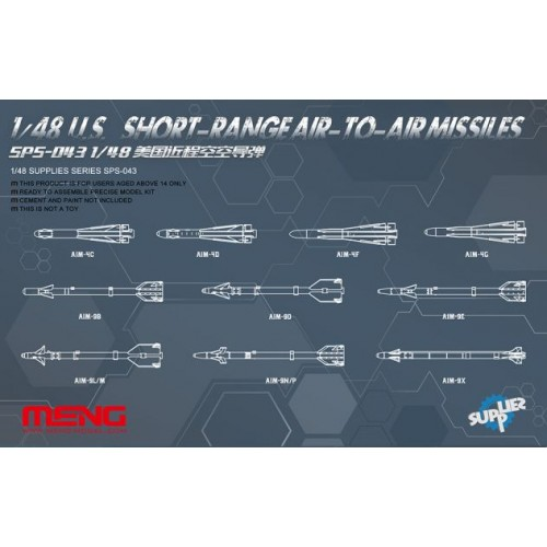 SET MISILES USA AIRE-AIRE CORTO ALCANCE - ESCALA 1/48 - MENG SPS043