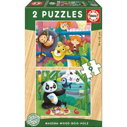 PUZZLES 2x9 PZAS ANIMALES DEL ZOO EDUCA 17616