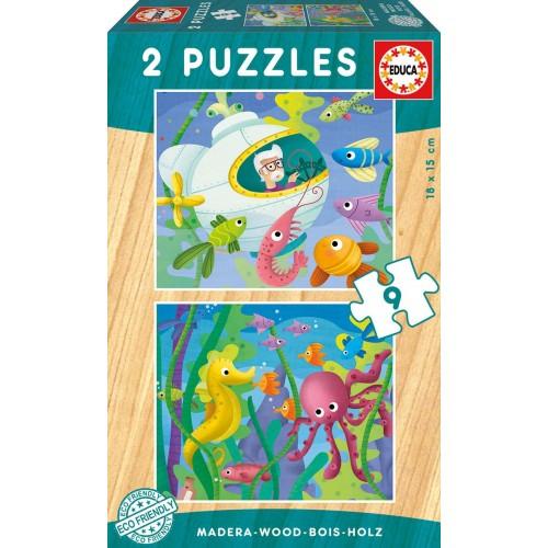 PUZZLES 2x9 PZAS ANIMALES ACUATICOS EDUCA 17617