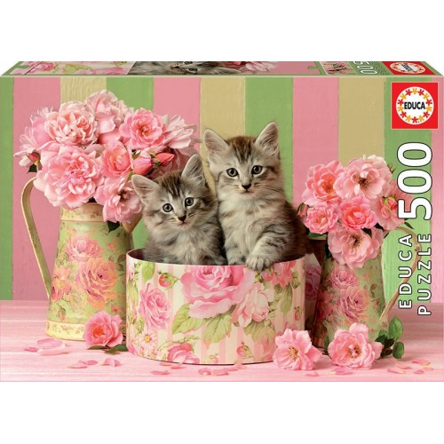 PUZZLE 500 Pzas TWO KITTENS WITH ROSES - Educa 17960