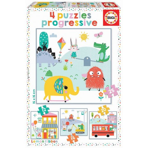 PUZZLE PROGRESIVO 12, 16, 20 Y 25 Pzas LEMON RIBBON - Educa 18061