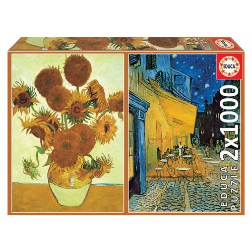 PUZZLE 1500 pzas LOS GIRASOLES & TERRAZA DEL CAFE POR LA NOCHE, Vicent Van Gogh - EDUCA 18491