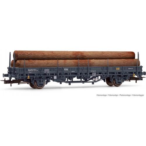 VAGON PLATAFORMA Tipo KBS (Troncos) RENFE (Gris) Ep. III - H0 - 1/87- Electrotren E1659