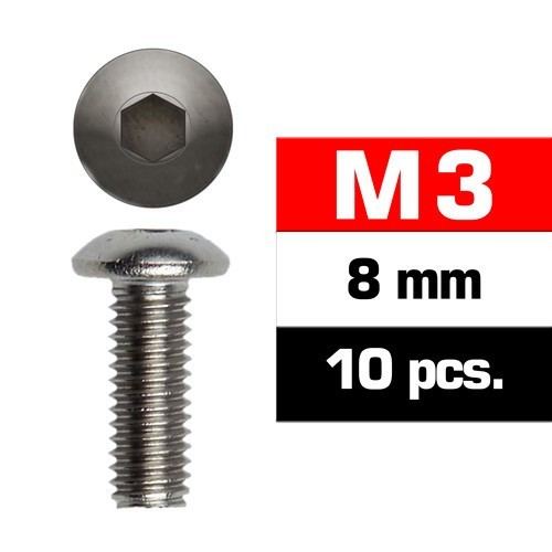 TORNILLO CABEZA BOTON ALLEN M3x8mm (10 unids) ULTIMATE RACING 162308