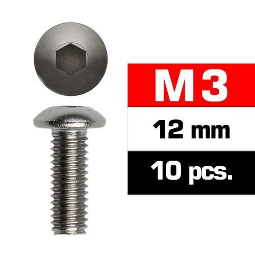 TORNILLO CABEZA BOTON ALLEN M3x12mm (10 unids) ULTIMATE RACING 162312