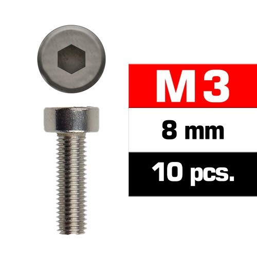 TORNILLO CABEZA CILINDRICA (M3x8 mm) 10 unidades - Ultimate Racing 163308