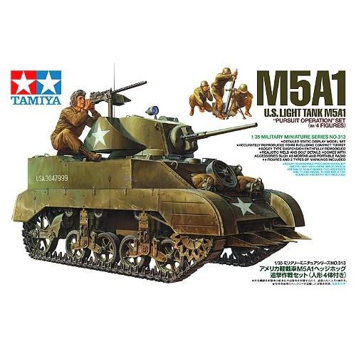 CARRO DE COMBATE M-5 A1 STUART Y EQUIPO DE MORTEROS U.S.