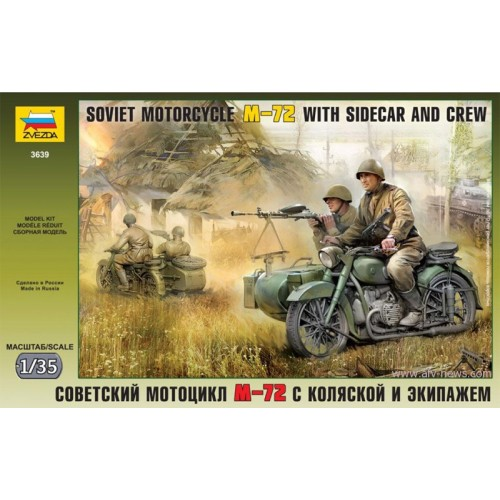 MOTOCICLETA Y SIDECAR M-72 & DOTACION -Escala 1/35- Zvezda 3639