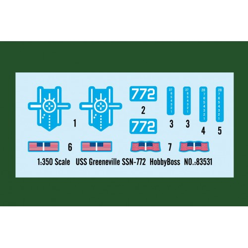 SUBMARINO U.S.S. GREENEVILLE SSN-772 -Escala 1/350- HOBBYBOSS 83531