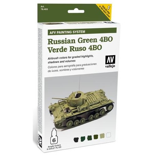AFV PAINTING SYSTEM: VEHICULOS VERDE RUSO 4BO (6 botes - 8 ml) - Vallejo 78403