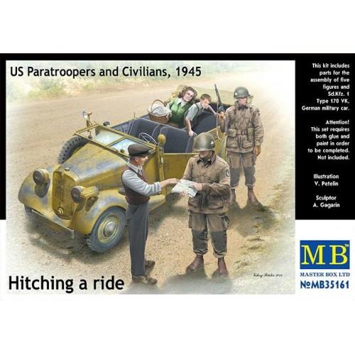 HITCHING A RIDER, PARACAIDISTAS U.S. & CIVILES -1/35- Master Box 35161