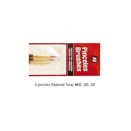 SET 3 PINCELES TORAY (tamaños 4/0 , 3/0, y 2/0) Vallejo p54998
