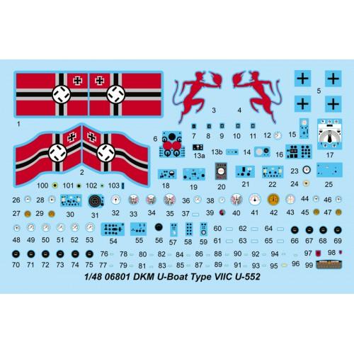 SUBMARINO TYPE VIIC U-552 1/48 - Trumpeter 06801