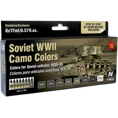MODEL AIR SET: SOVIET WWII CAMO COLORS (8 BOTES 17ML)- ACRILICOS VALLEJO 71188