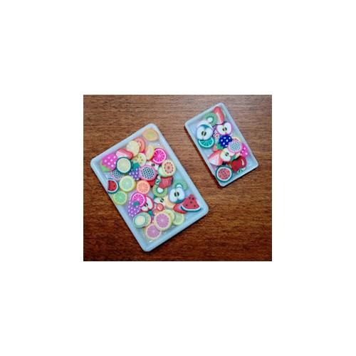 Bandejas Rectangulares (2) Con Ensalada De Frutas - Hobby Dollshouse Accesories 535b