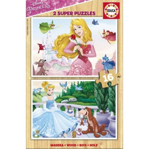 PUZZLE 2x16 PZS PRINCESAS DISNEY MADERA - EDUCA 17163