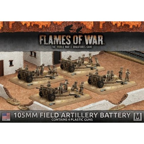 BATERIA CAÑONES 105MM FLAMES OF WAR UBX60 - ESCALA 1/100