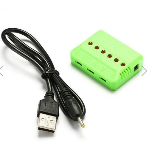 CARGADOR USB PARA 6 BATERIAS 3.7V LIPO CON CONECTOR BLANCO