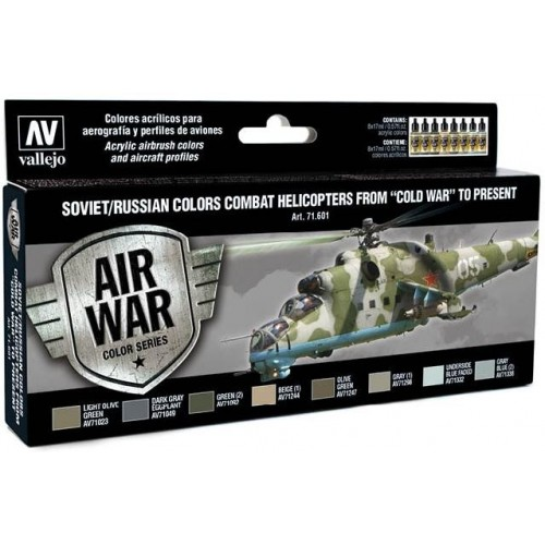 MODEL AIR SET: SOVIET-RUSSIAN AF COMBAT HELICOPTERS COLORS (8 BOTES 17ML) - ACRILICOS VALLEJO 71601