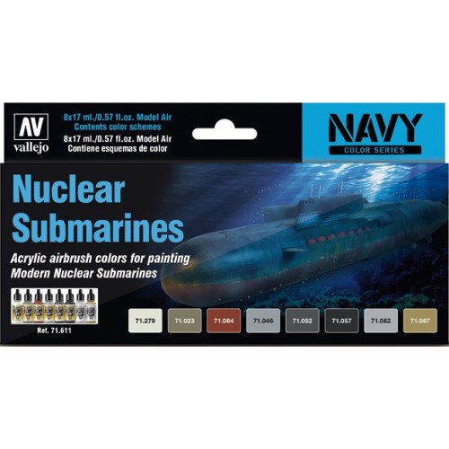 MODEL AIR SET: NUCLEAR SUBMARINES COLORS (8 BOTES 17ML) - ACRILICOS VALLEJO 71611