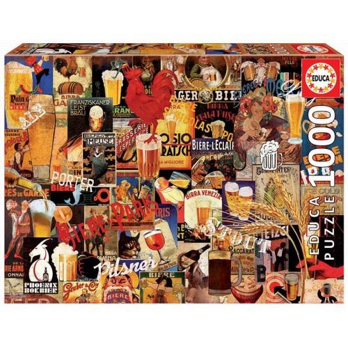 PUZZLE 1000 Pzas VINTAGE BEER COLLAGE - Educa 17970