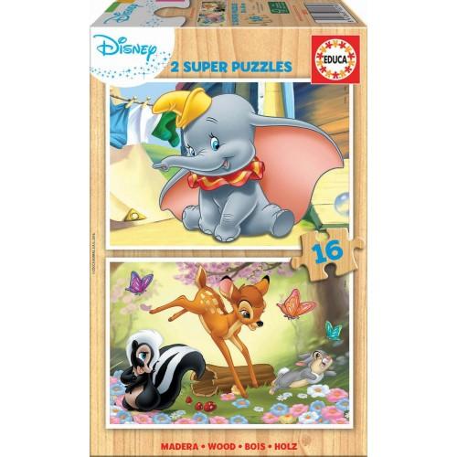 PUZZLE MADERA 2 x 16 Pzas ANIMALES DISNEY - Educa 18079