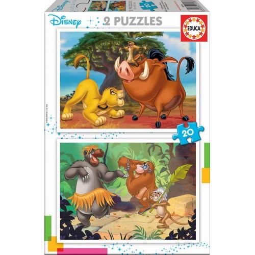 PUZZLE 2 x 20 Pzas ANIMALES DISNEY - Educa 18103