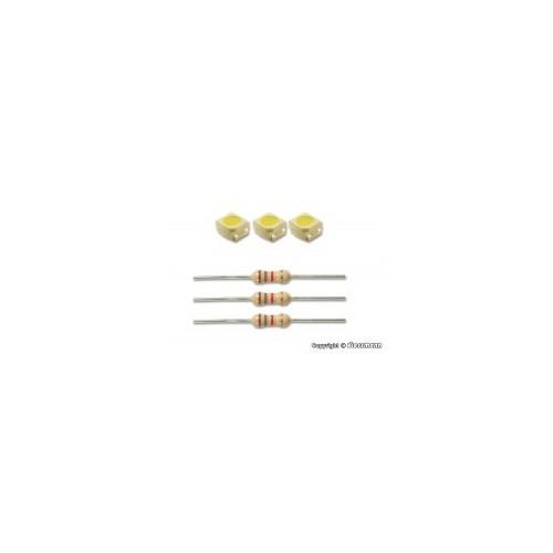 SET TRES LEDS BLANCOS ( 2,9 X 3,5mm) CON RESISTENCIA - VIESSMANN 3556