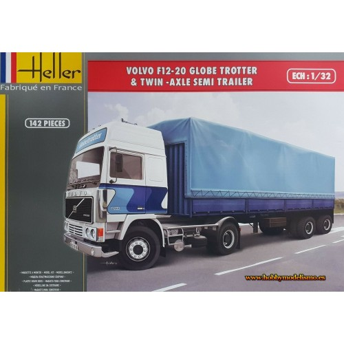 CAMION VOLVO F12-20 Globetrotter & REMOLQUE LONA -1/32- Heller 81703